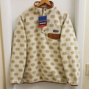 😍New W tags rare Patagonia polka dot fleece sz L